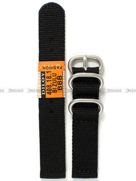 Pasek nylonowy do zegarka - Diloy 408.18.1 - 18 mm