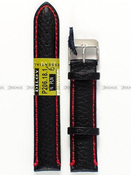Pasek skórzany do zegarka - Diloy P206.18.1.6 - 18 mm