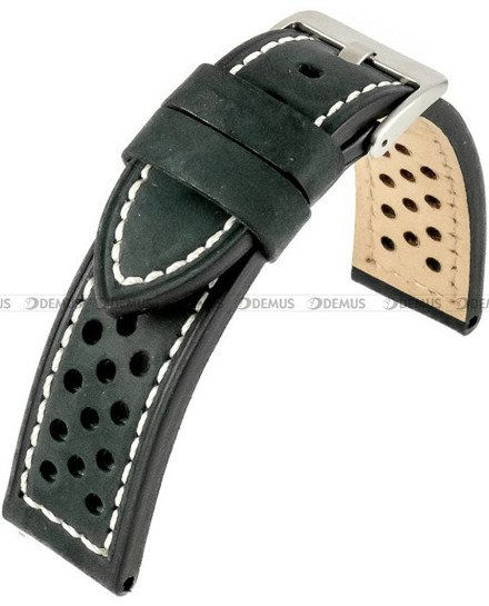 Pasek skórzany do zegarka - Horido 9618.01.20S - biała nić - 20 mm