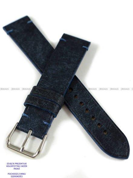 Pasek skórzany ręcznie robiony A. Kucharski Leather - Badalassi Carlo Pueblo Simple - navy/navy 26 mm