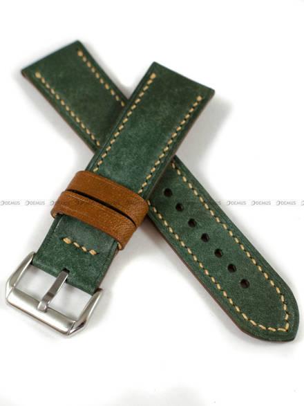 Pasek skórzany ręcznie robiony A. Kucharski Leather - Conceria Il Ponte Maya Double - darkgreen/camel 22 mm