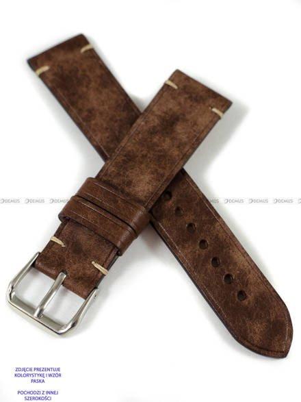 Pasek skórzany ręcznie robiony A. Kucharski Leather - Conceria Il Ponte Maya Simple - chocolate/camel 28 mm