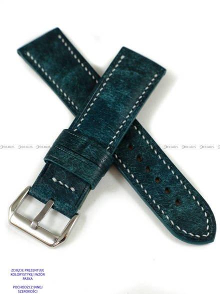 Pasek skórzany ręcznie robiony A. Kucharski Leather - Conceria Il Ponte Maya - turquoise/white 24 mm