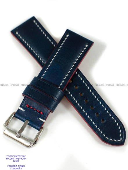 Pasek skórzany ręcznie robiony A. Kucharski Leather - Conceria Walpier Buttero - blue/white 18 mm