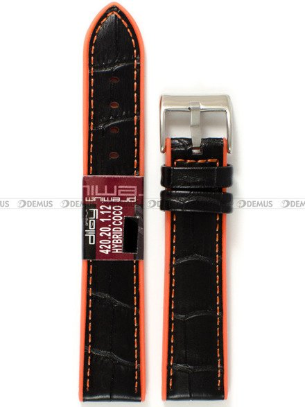 Pasek z tworzywa i skóry do zegarka - Diloy 420.20.1.12 - 20 mm