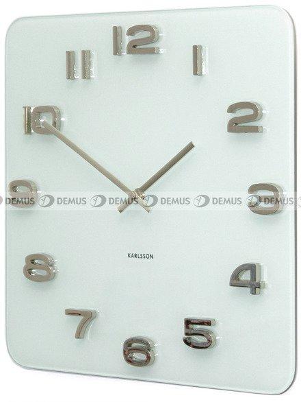 Zegar ścienny KARLSSON KA4399  szklany Vintage kwadrat biały