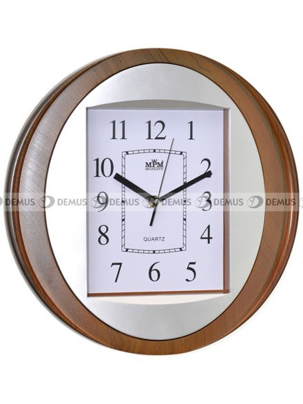 Zegar ścienny plastikowy jasnobrązowo-srebrna obudowa biała tarcza czarne cyfry E01.2806.52