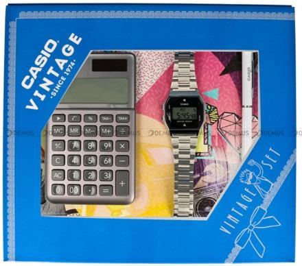Zegarek Damski CASIO VINTAGE A158WEAD 1EF z Kalkulatorem Casio SL-1000SC-GY-S i długopisem w zestawie