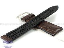 Pasek skórzano-kauczukowy do zegarka - Hirsch Paul 0925028010-2-24 - 24 mm